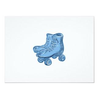 Roller Skates Vintage Etching 6.5x8.75 Paper Invitation Card