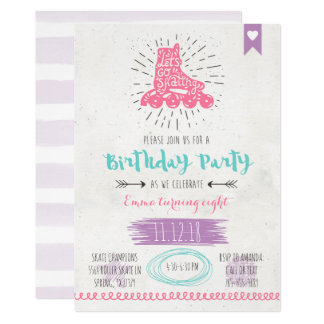 Roller Skating Birthday Invitatio Card