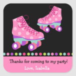 Roller Skating Birthday Party Favor Stickers Label