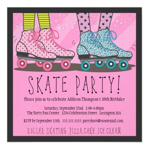 "Roller Skating Birthday Party Invitation 5.25"" Square ..."