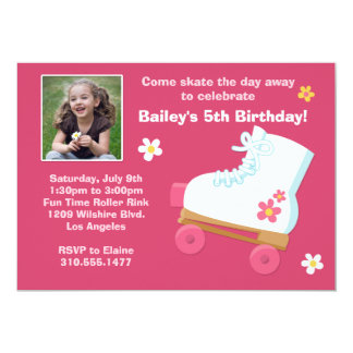 "Roller Skating Birthday Party Invitation 5"" X 7"" Invitation Card"