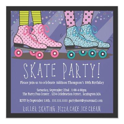 roller skating birthday party invitation zazzle - Roller Skating Birthday Party Invitations
