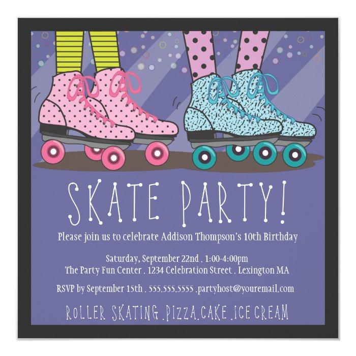 Roller Skating Birthday Party Invitation Zazzle
