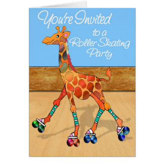 Roller Skating Giraffe at the Rink Invitation Skat