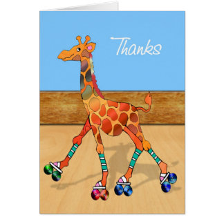 Roller Skating Giraffe at the Rink Thanks Card