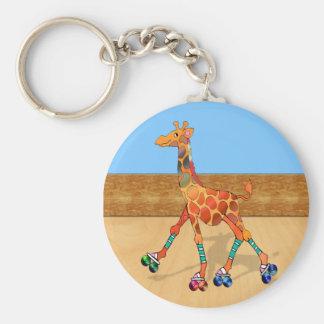 Roller Skating Giraffe at the Roller Rink Basic Round Button Keychain