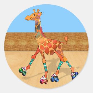 Roller Skating Giraffe at the Roller Rink Classic Round Sticker
