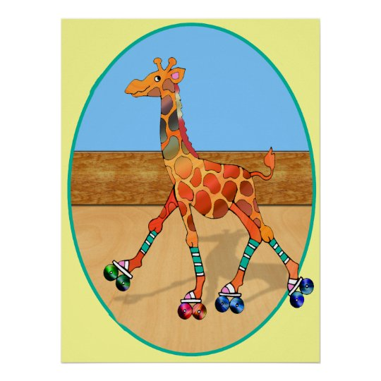 Roller Skating Giraffe at the Roller Rink Poster