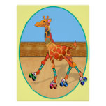 Roller Skating Giraffe at the Roller Rink Posters