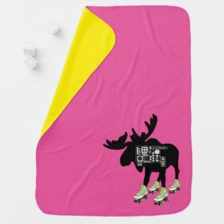 Roller Skating Moose Baby Blanket