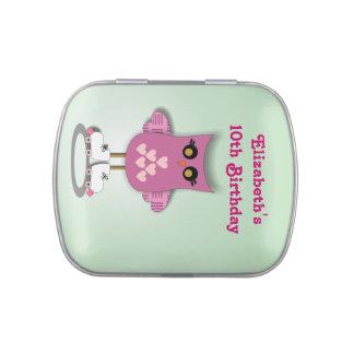 Roller Skating Owl Birthday Candy Tins