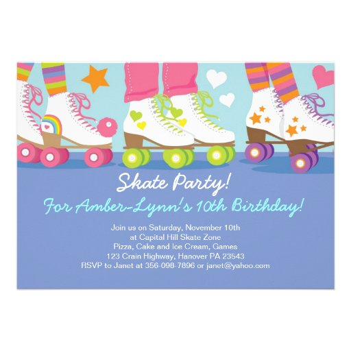 Personalized roller skating invitations custominvitations4u roller skating party birthday invitations stopboris Image collections