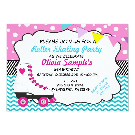 roller skating party chevron birthday invitation | zazzle, Birthday invitations