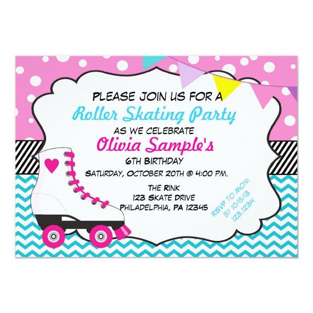 Roller Skating Party Chevron Birthday Invitation | Zazzle