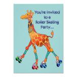 Roller Skating Party Giraffe Card