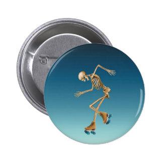 Roller Skating Skeleton Blues 2 Inch Round Button