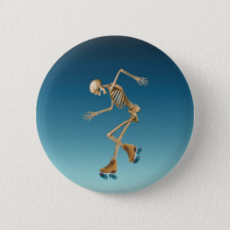Roller Skating Skeleton Blues Button