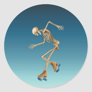 Roller Skating Skeleton Blues Classic Round Sticker