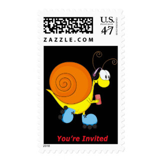 Roller Skating Snail You're Invited Postage