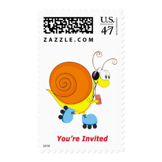 Roller Skating Snail You're Invited Stamp