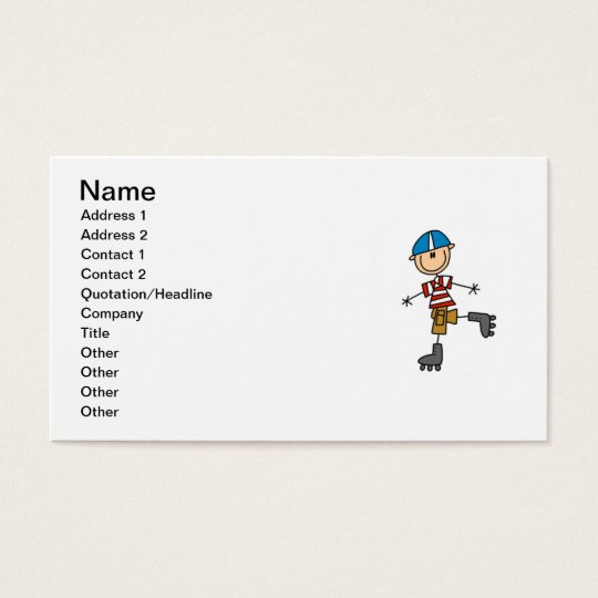 Roller Skating Stick Figure Business Card