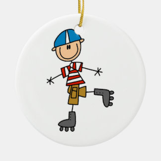 Roller Skating Stick Figure Double-Sided Ceramic Round Christmas Ornament