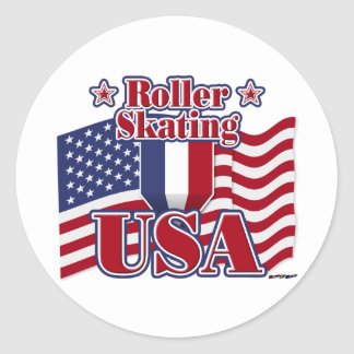 Roller Skating USA Classic Round Sticker
