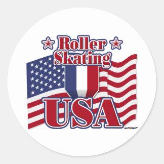 Roller Skating USA Classic Round Sticker