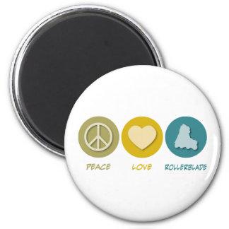 Rollerblade del amor de la paz imán redondo 5 cm