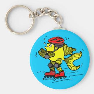 Rollerblade Fish funny Skating cartoon Keychain