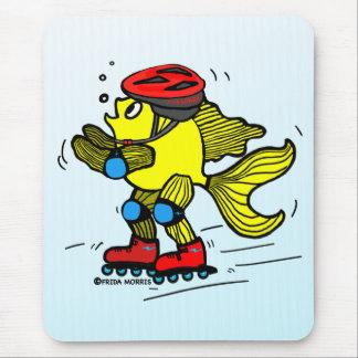 Rollerblade Fish funny Skating cartoon Mouse Pad