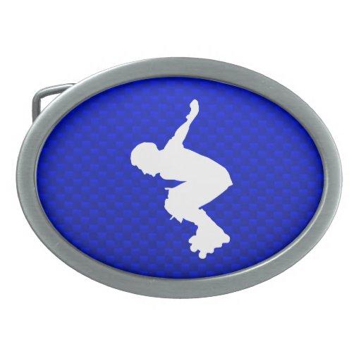 Rollerblading azul hebillas cinturon ovales