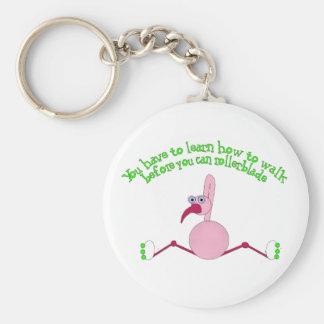 Rollerblading Flamingo Keychain