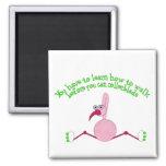 Rollerblading Flamingo Magnet