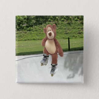 Rollerblading Teddy Bear Button Badge