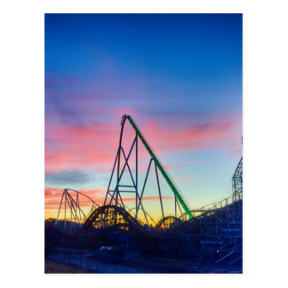rollercoaster amusement ride postcard