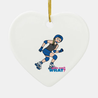 Rollerderby Girl Light/Blonde Ceramic Ornament