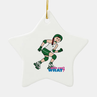 Rollerderby Girl Light/Red Ceramic Ornament