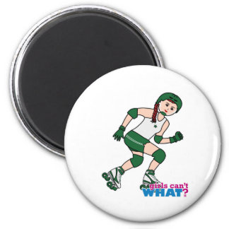 Rollerderby Girl Light/Red 2 Inch Round Magnet
