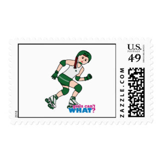 Rollerderby Girl Light/Red Postage