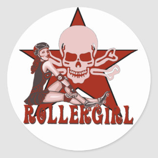 rollergirl pin up diva classic round sticker