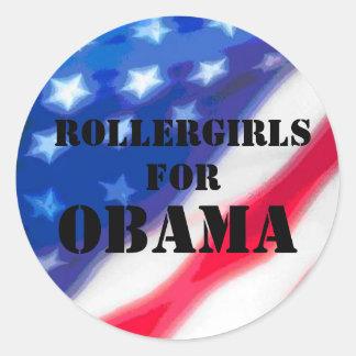 Rollergirls para Obama - plantilla y bandera Pegatina Redonda