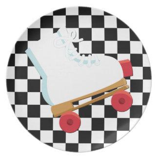 Rollerskate comprobado blanco y negro retro platos de comidas