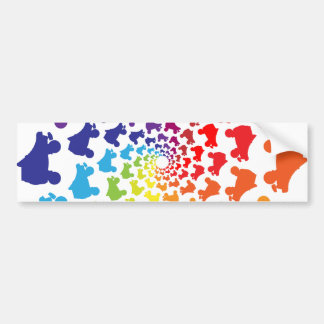 rollerskate rainbow circle bumper sticker
