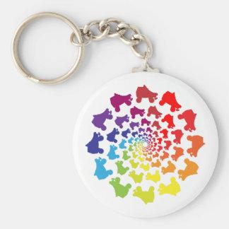rollerskate rainbow circle keychain