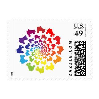 rollerskate rainbow circle postage