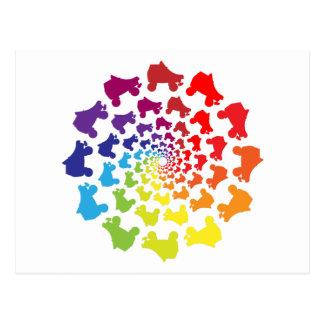 rollerskate rainbow circle postcard