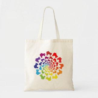rollerskate rainbow circle tote bag