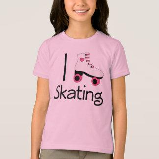 Rollerskate Skating I Love Heart Sports Tee