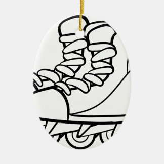 Rollerskates Double-Sided Oval Ceramic Christmas Ornament